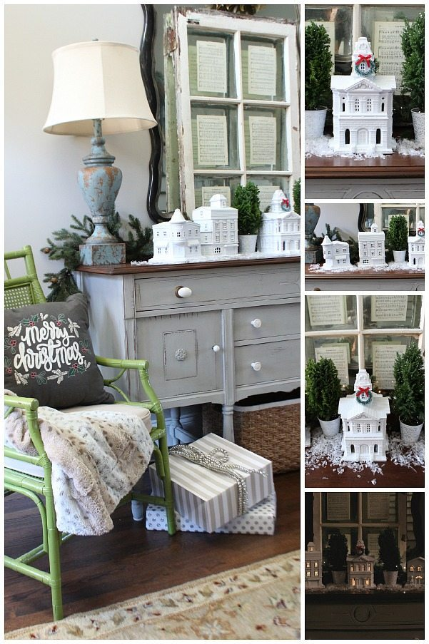 Easy DIY Christmas village from thrift store finds White Christmas Village at Refresh Restyle
