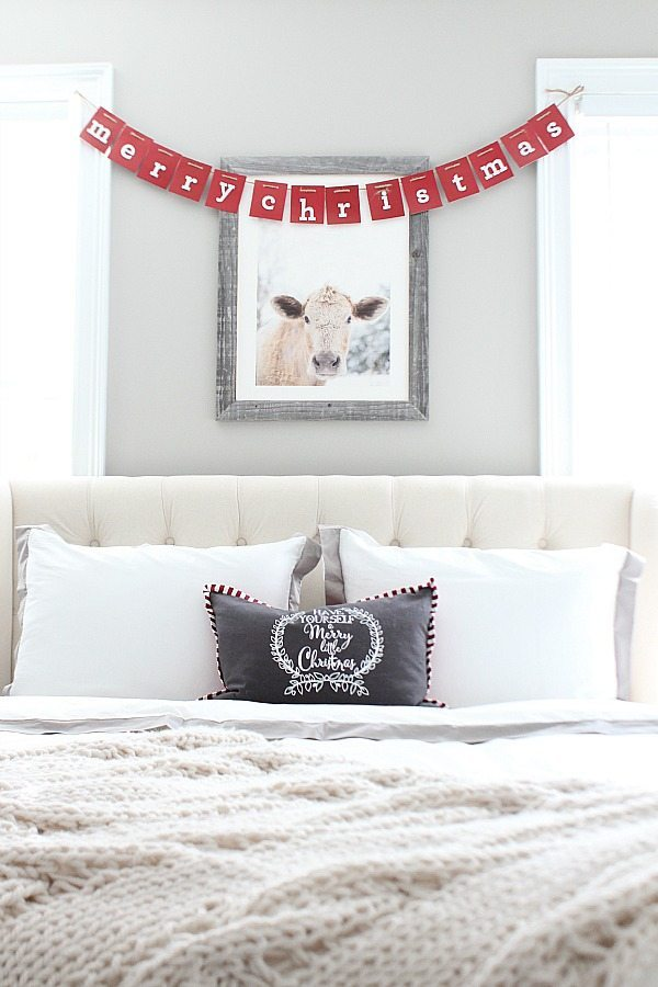 Farmhouse guest room dressed for Christmas