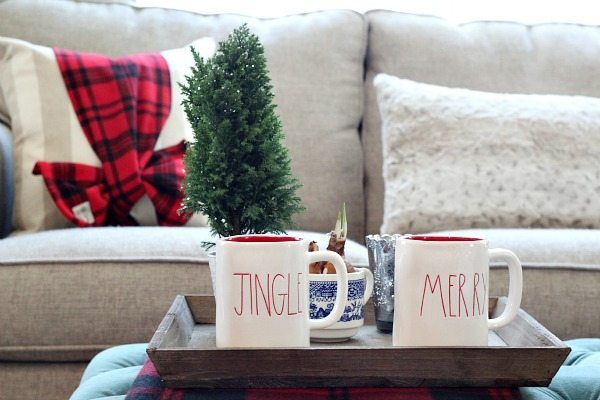 Jingle and Merry cups at refresh restyle Christmas Home Tour