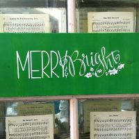 Merry & Bright sign painted with Krylon Chalky Spray Paint in New Leaf