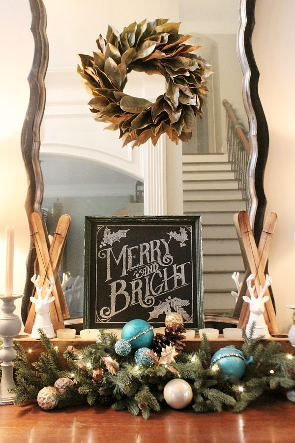 Merry and Bright entry idea with chalkboard and tiny skis