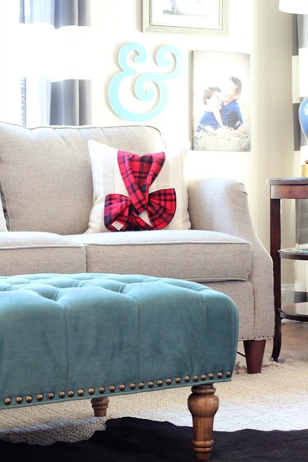 Plaid and blue refresh restyle Christmas Home Tour