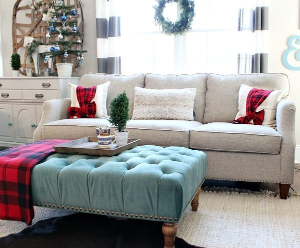 Red plaid and blues in the family room refresh restyle Christmas Home Tour