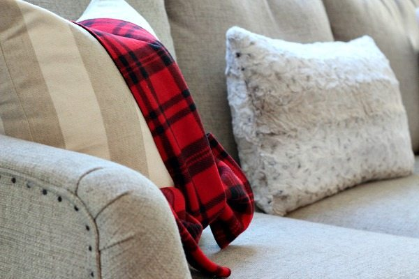 Red plaid scarved tied on to pillows refresh restyle Christmas Home Tour