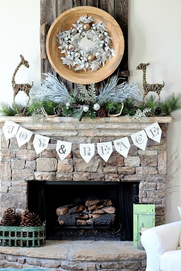 Stone Fireplace at Jingle and Merry refresh restyle Christmas Home Tour