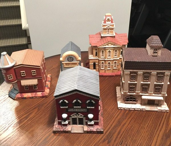 The White Christmas village before spray paint at Refresh Restyle