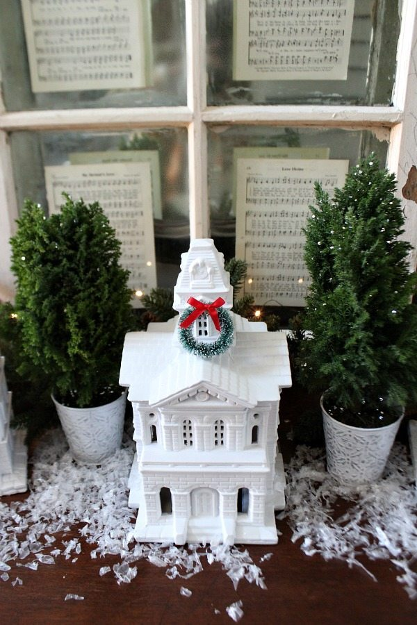 Thrifty ceramics used to create a White Christmas display at Refresh Restyle