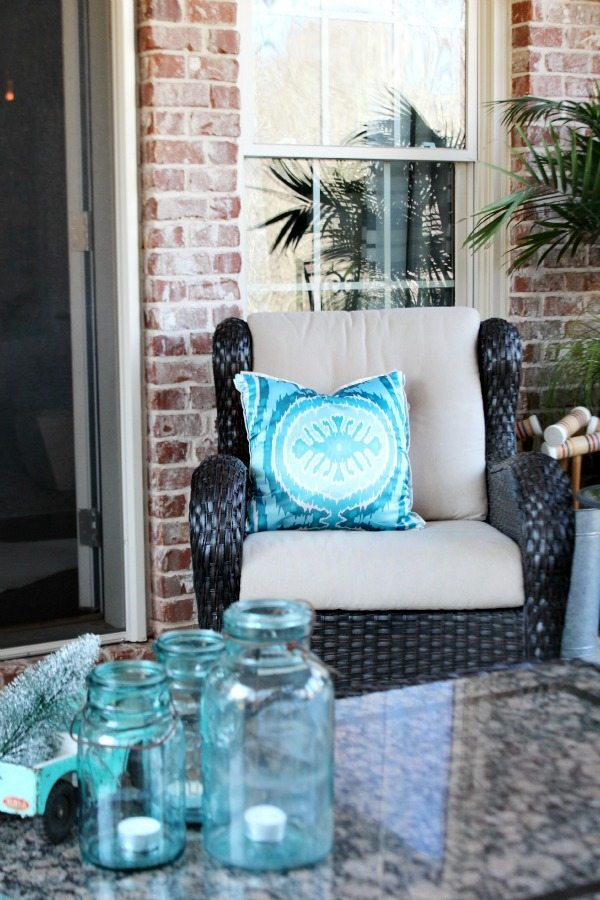 Turquoise mason jars and pillow Winter patio at Refresh Restyle