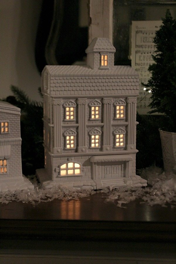 Use battery operated tea lights to light up the White Christmas Village at Refresh Restyle