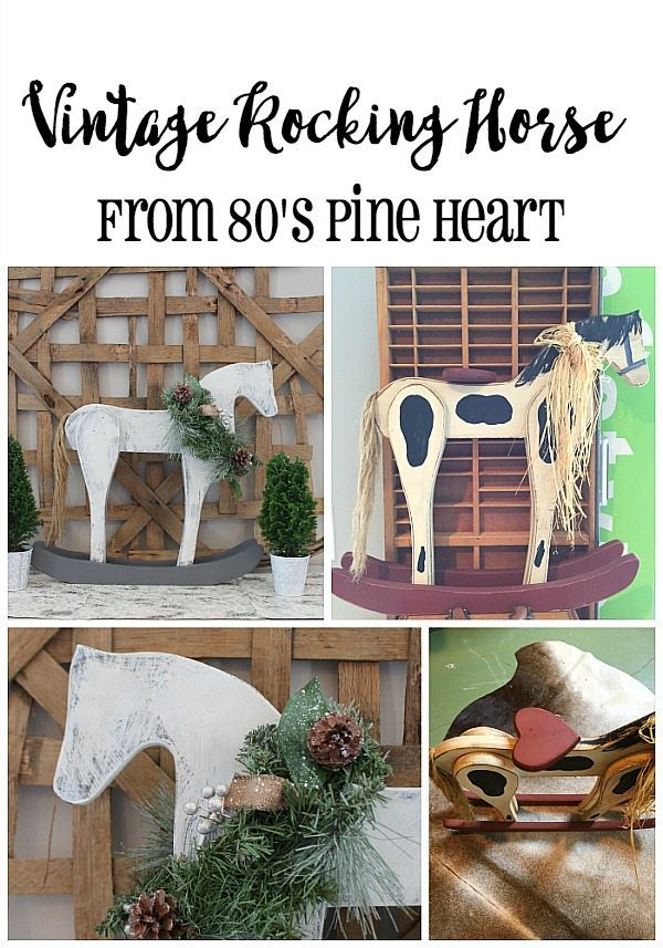 Vintage Rocking Horse Makeover from 80's Burgundy heart & pine furniture Home for Christmas with Country Living and HomeTalk