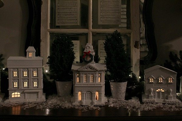 White Christmas village display perfect for a buffet or table at Refresh Restyle