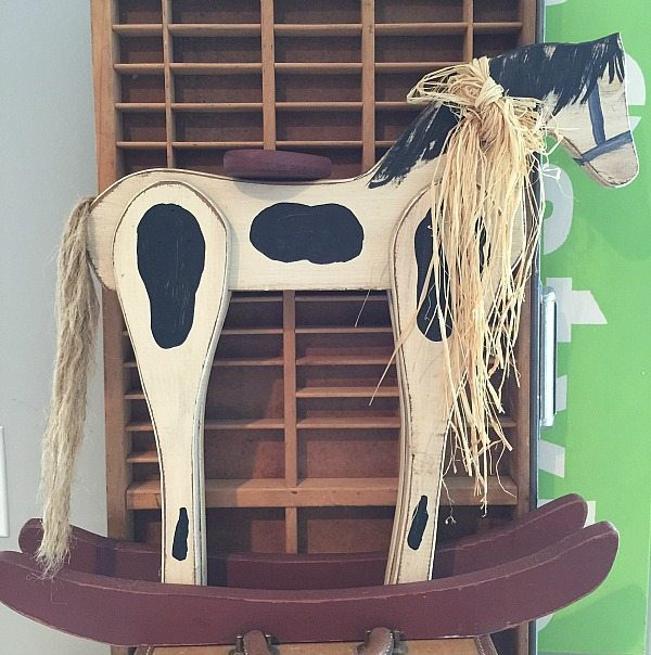 Wood rocking horse before transformed at Refresh Restyle - Home for Christmas with Country Living and HomeTalk Vintage Wood Rocking Horse