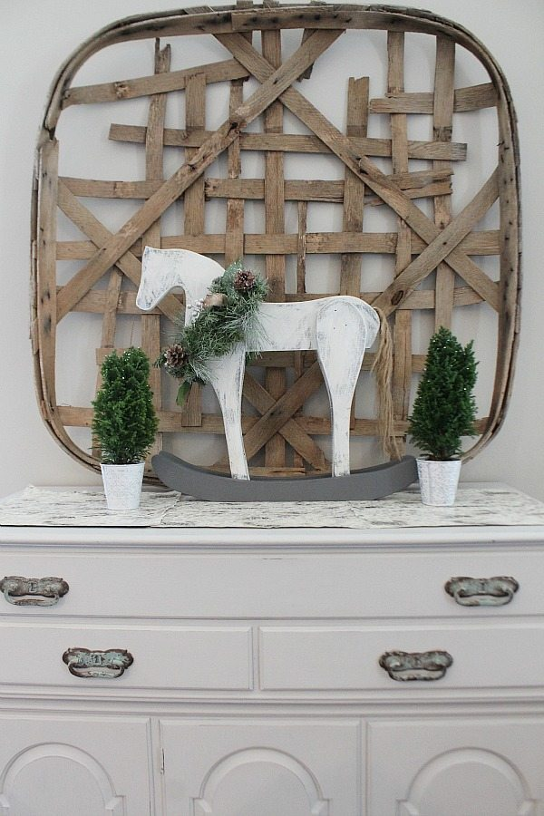 Wood rocking horse from 70's crafty horse at refresh restyle - Home for Christmas with Country Living and HomeTalk Vintage Wood Rocking Horse