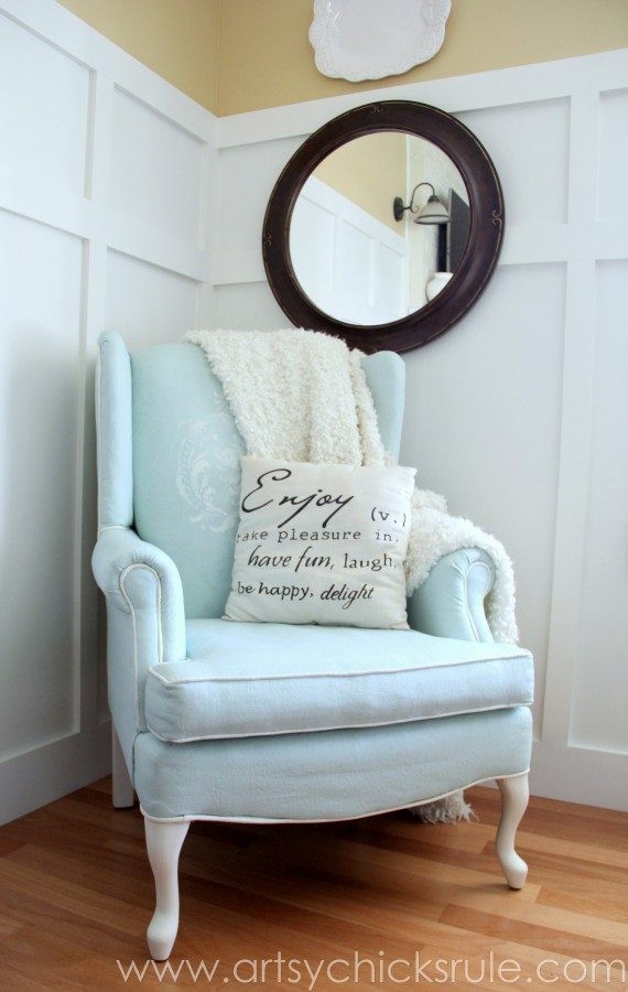 Annie Sloan Chalk-Painted-Upholstered-Chair-Makeover from artsychicksrule.com-paintedupholstery-chalkpaint-diy