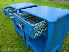 Blue End Tables makeover with paint and fabric from Curb Alert