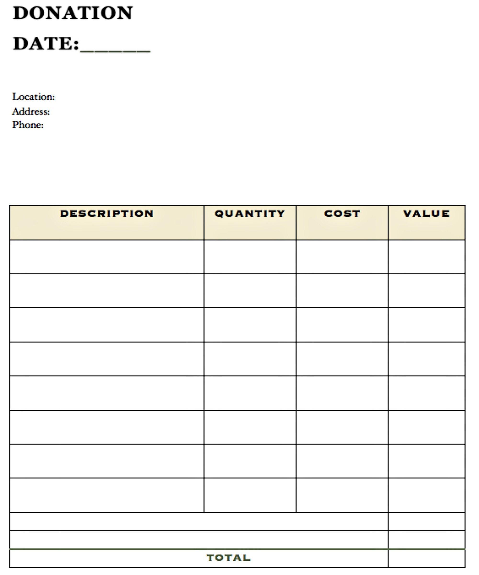 Closet organizing donation form