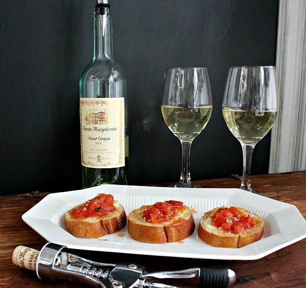 Description: ate night - Tomato Mozzarella Appetizer with Santa Margherita Pinot Grigio