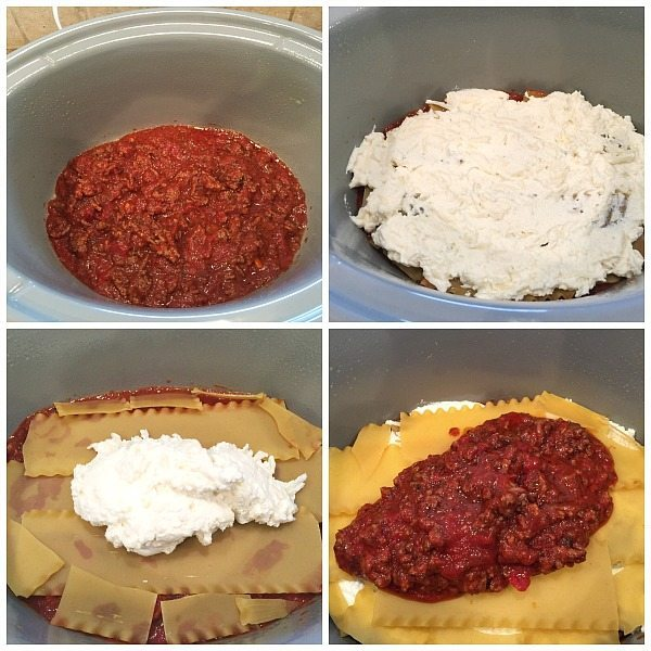 Layering the ingredients for making slow cooker recipe for Lasagna in your crock pot