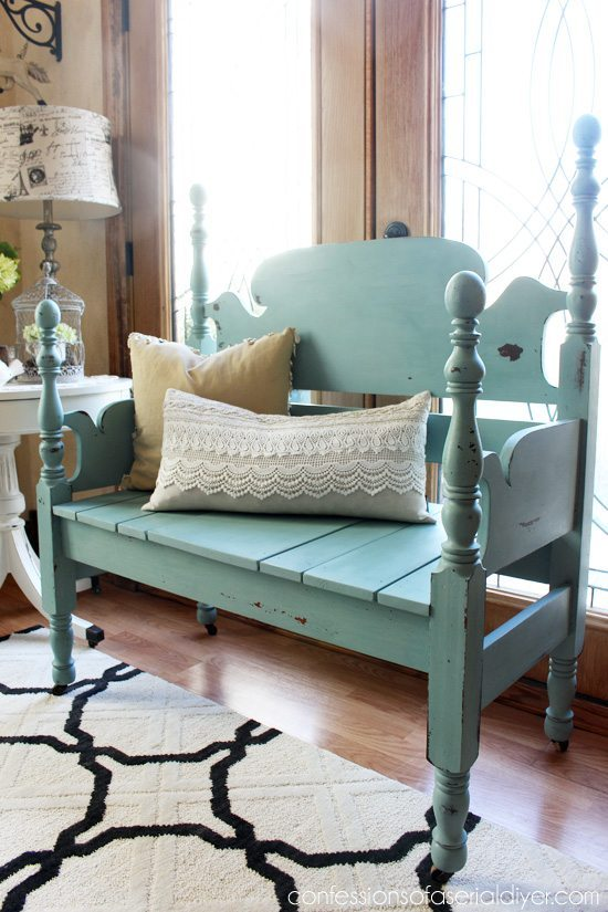 30 painted furniture ideas in blue more refresh restyle for Painted on headboard