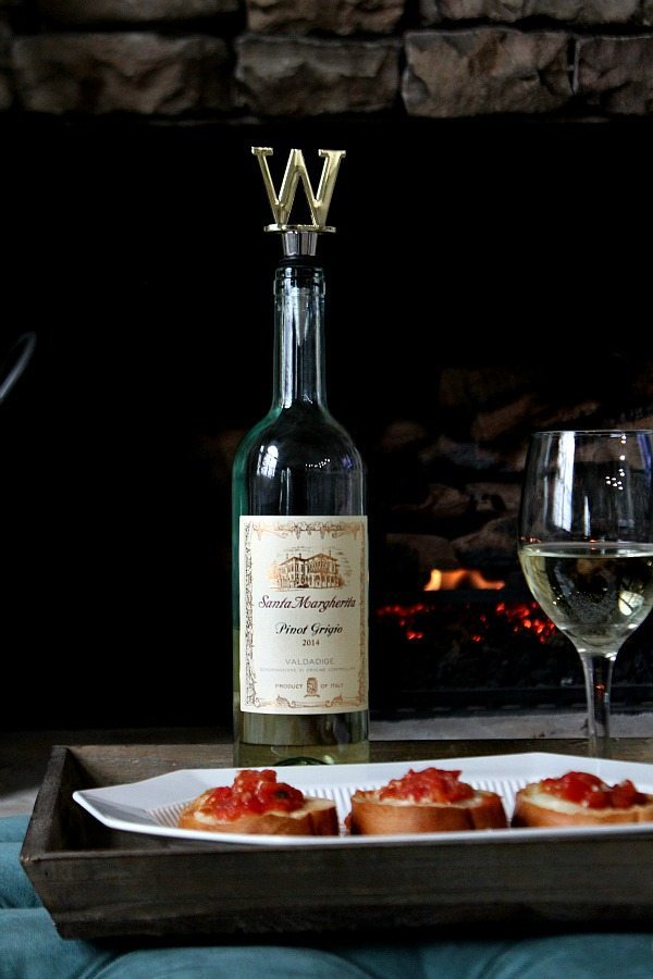 Description: erfect for a night in - Tomato Mozzarella Appetizer with Santa Margherita Pinot Grigio