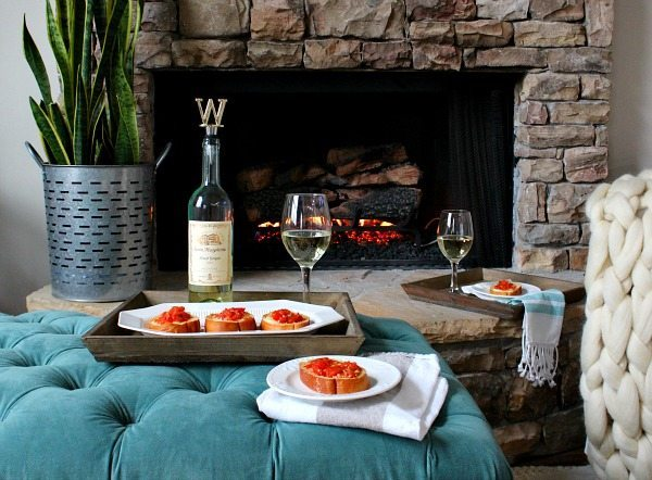 Description: erfect recipe for an evening in Tomato Mozzarella Appetizer with Santa Margherita Pinot Grigio