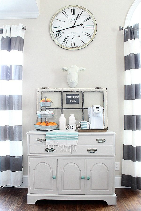 Refreshing what you have, no spend decorating. Created the farmhouse coffee station by painting the cow with chalk paint and shopping the house for details. Super fun makeover ideas.