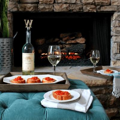 Tomato Mozzarella Appetizer & Santa Margherita Pinot Grigio