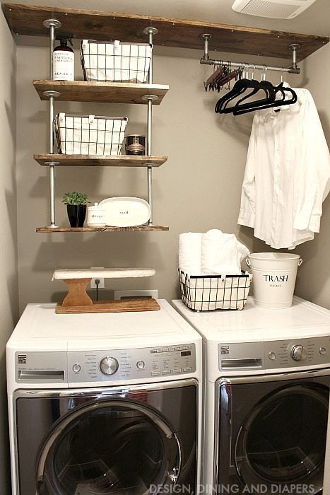 Gorgeous Farmhouse Projects - Small-Laundry-Room-Organization-Industrial-Shelving