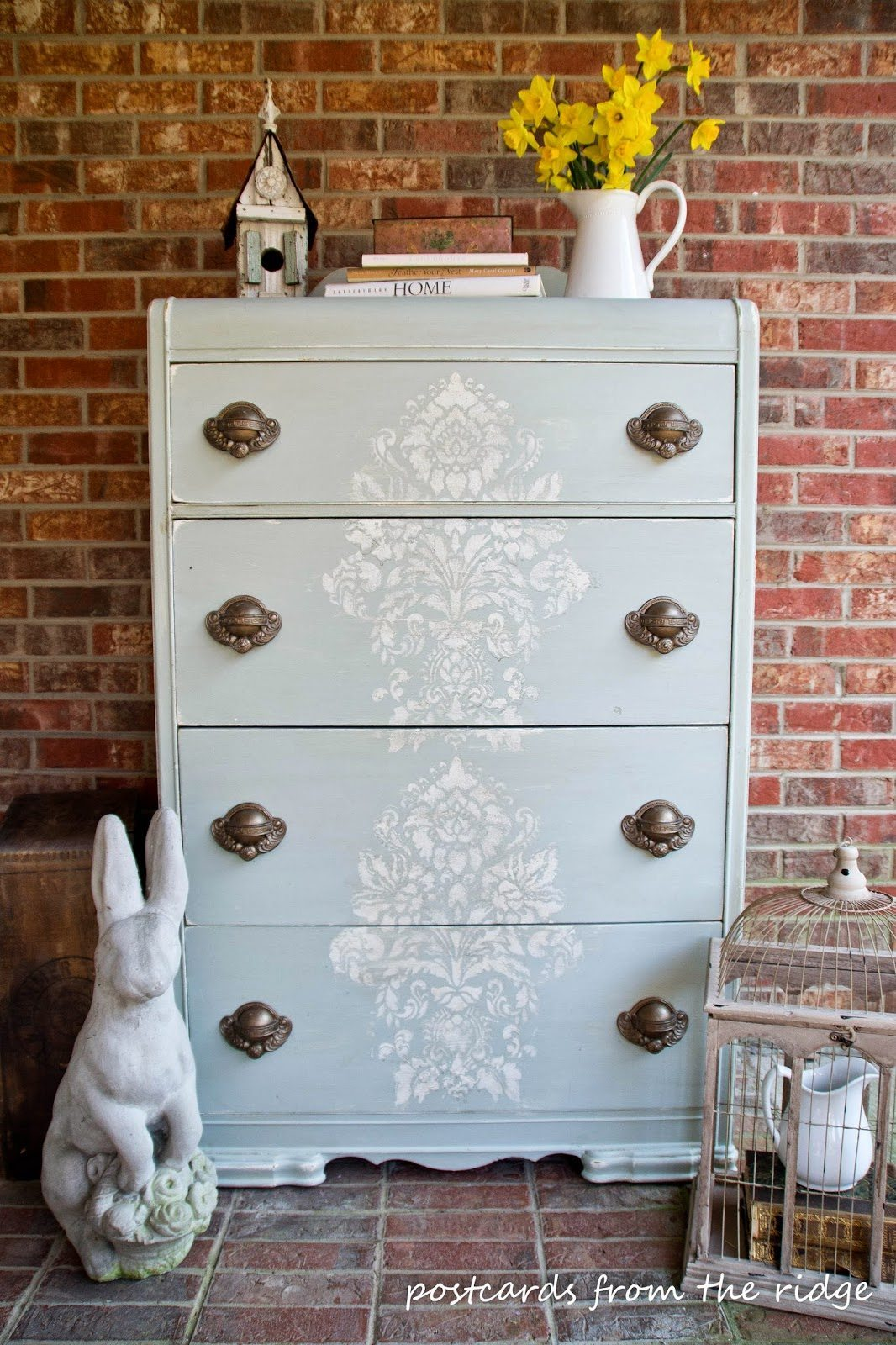 Stenciled Chest of drawers with Postcards from the Ridge