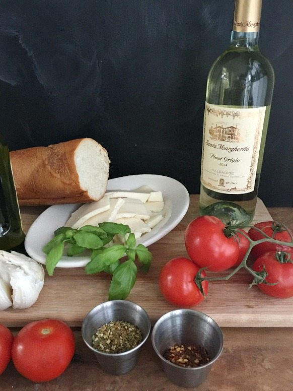 Description: omato Mozzarella Appetizer with Santa Margherita Pinot Grigio