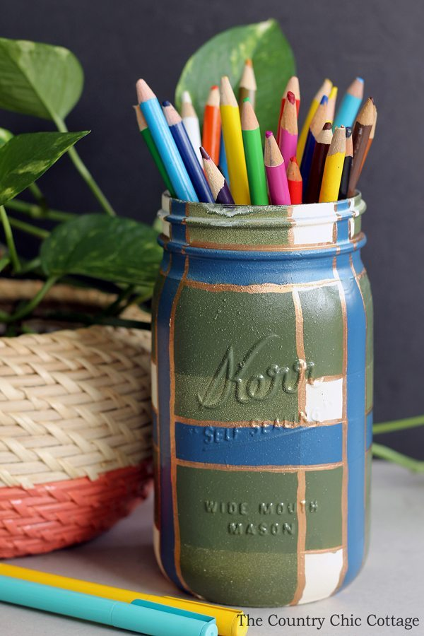 02 - Country Chic Cottage - Plaid Painted Mason jar