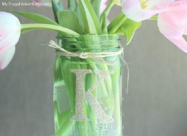 03 - My Frugal Adventures - Monogrammed Mason Jar Vase