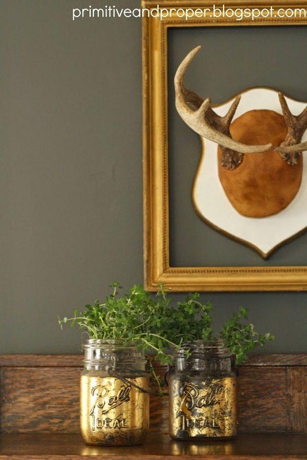 09 - Primitive and Proper - Gold Leaf Mason jar Planters