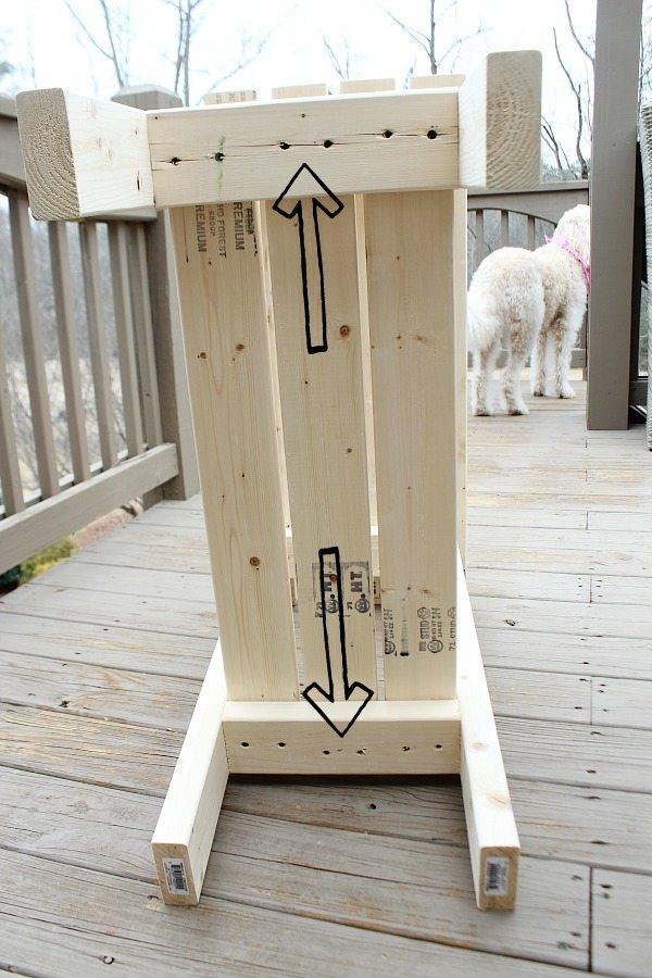 Attach the bottom shelf of the 2 x 4 potting bench