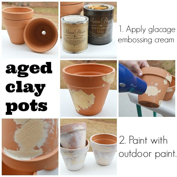 Aging clay pots with 2 products perfect for planting in a time worn pot, immediately!