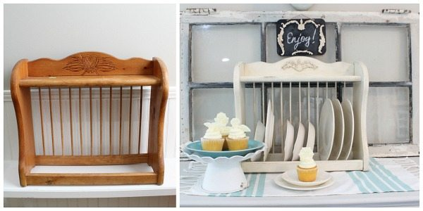 Before and after - using IOD vintage decor moulds with Prima paper clay on a farmhouse plate rack
