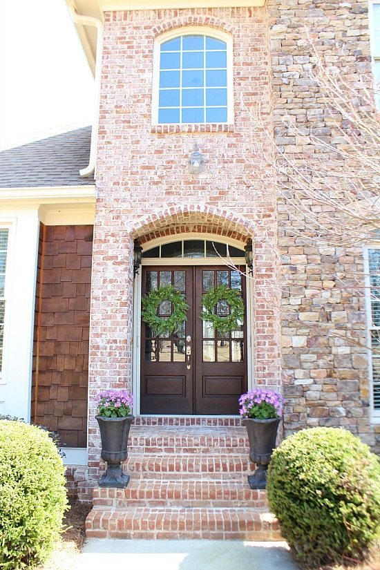 Brick and stone entrance with double doors Refresh Restyle spring home tour
