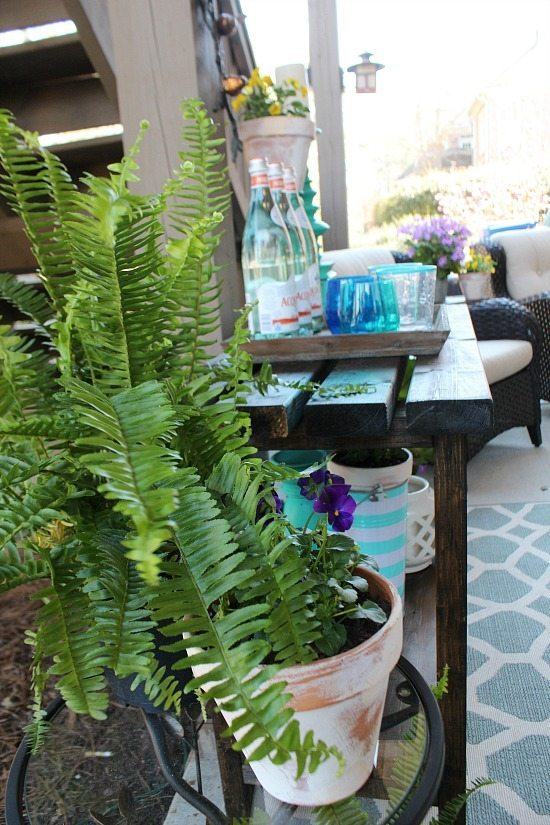 Ferns on the patio Refresh Restyle spring home tour