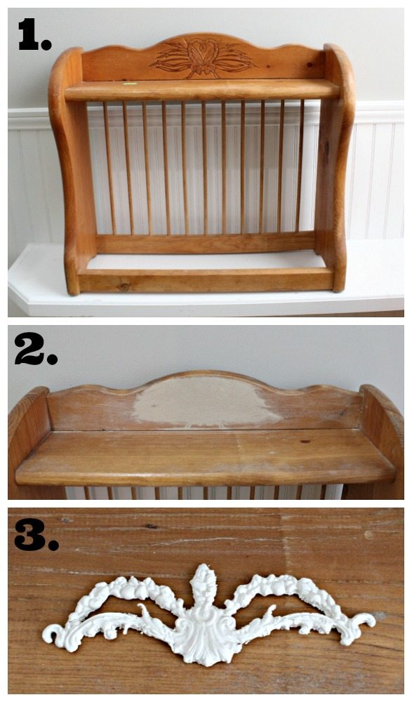 How to revive a thrift store plate rack - from 80's to awesome french inspired plate rack