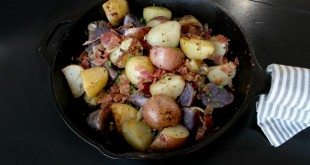 Iron skillet oven roasted potato recipe, filled with flavor and bacon