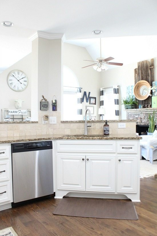Kitchen overlooking den Refresh Restyle spring home tour