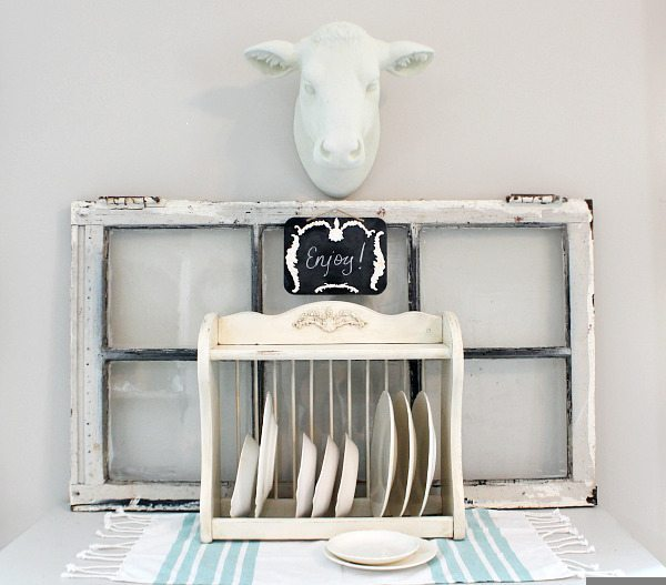 Make over a thrift store plate rack with IOD Vintage Moulds- Molds and paper clay