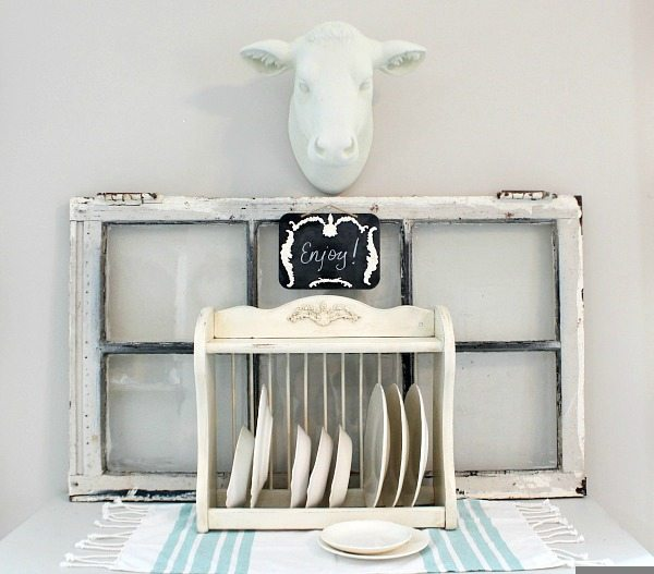 Make over a thrift store plate rack