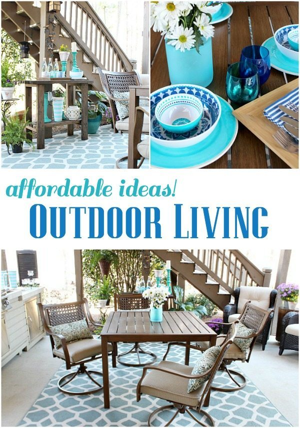 Outdoor living - Beautiful aqua and navy melamine serve ware - Outdoor Patio Refresh - Spring is here and so is entertaining season. We love spending time outside- spring and summer