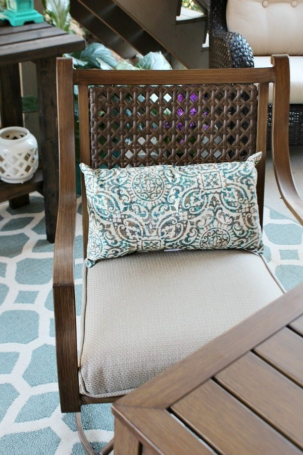 Outdoor living - dining - metal that looks like wood - woven seat back with seat cushions