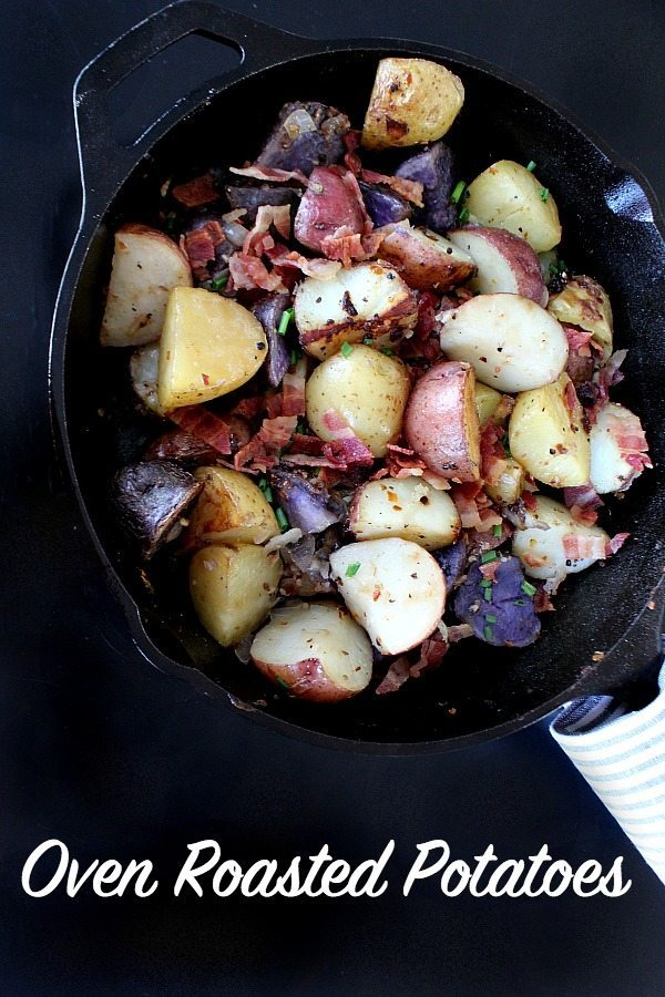 Oven Roasted Potatoes - easy recipe with bacon and more spices - great side dish