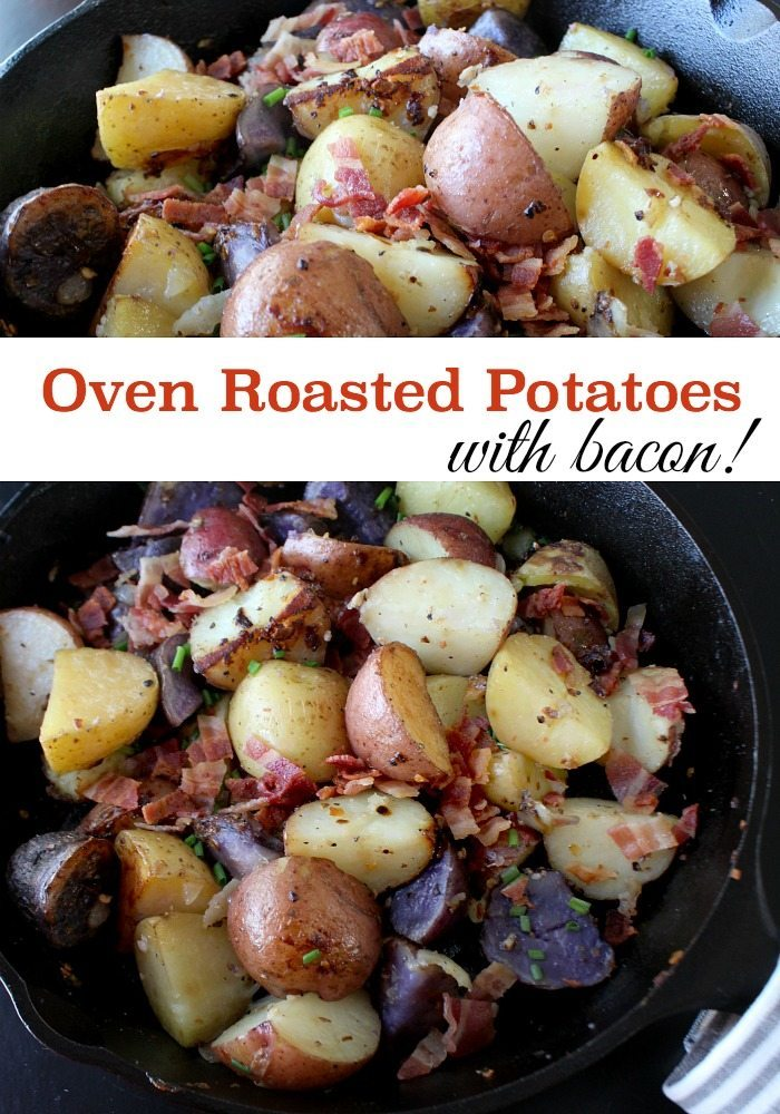 Oven roasted potato recipe, filled with flavor. Easy to make in your iron skillet. Bacon included in recipes.