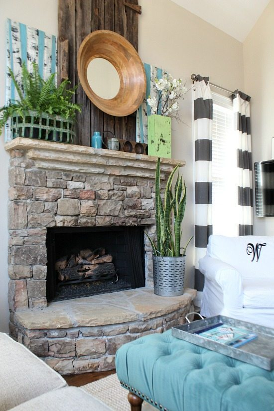 Rock fireplace Refresh Restyle spring home tour