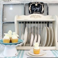 Serving area - Revive a thrift store plate rack with IOD Vintage Moulds- Molds and paper clay