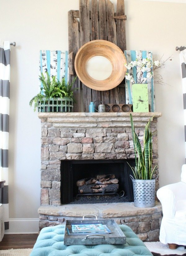 Spring home tour - greens and blues in the gathering room - bright and light